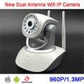 HS-6130-HD 64 GB P2P Rotação 960 P chamadas de Telefone de Áudio Em Dois Sentidos Alarme Duplo Antena Sem Fio Wifi IP Câmera de CCTV frete Grátis