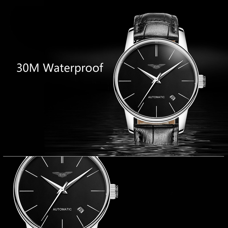 Mechanical Automatic Mens Watches Top Brand Luxury GUANQIN Waterproof Leather Watchbands Ultra thin Fashion Relogio Masculino in Mechanical Watches from Watches