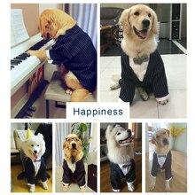 HELLOMOON, одежда для больших собак, костюм для больших собак в полоску с галстуком-бабочкой, Золотая шерстяная одежда для собак, одежда для больших собак, летняя одежда