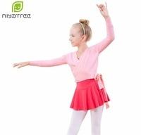 Girls Two Piece Dress Ballet Dance Wear Wrap Sweater Practice Knitwear Gymnastic Leotard Kids Child Long