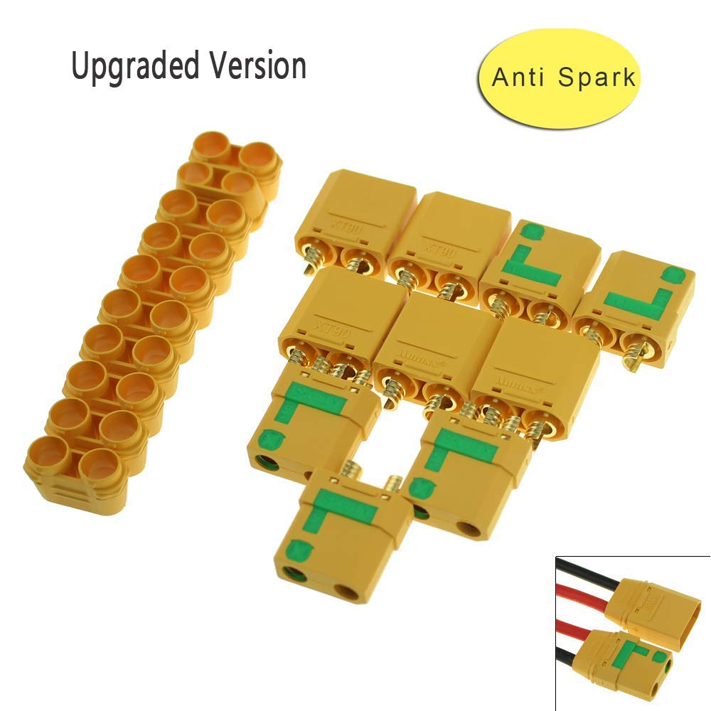 5 Pair Amass XT90S XT90-S XT90 Connector Anti-Spark Male Female Connector For Battery, ESC And Charger Lead