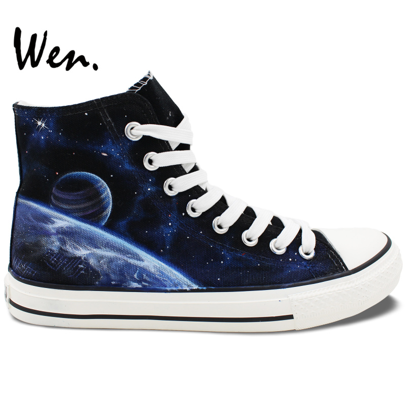 Wen Sneakers Hand Painted Shoes Galaxy Space Nebula Design Custom High Top Women Men's Canvas Sneakers Christmas Gifts Art