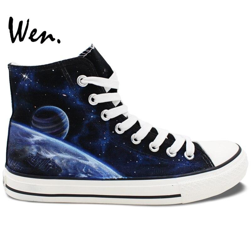 Prix pour Wen Sneakers Peint À La Main Chaussures Galaxy Nébuleuse de L'espace de Conception Personnalisée High Top Femmes Hommes Toile Sneakers De Noël Cadeaux Art