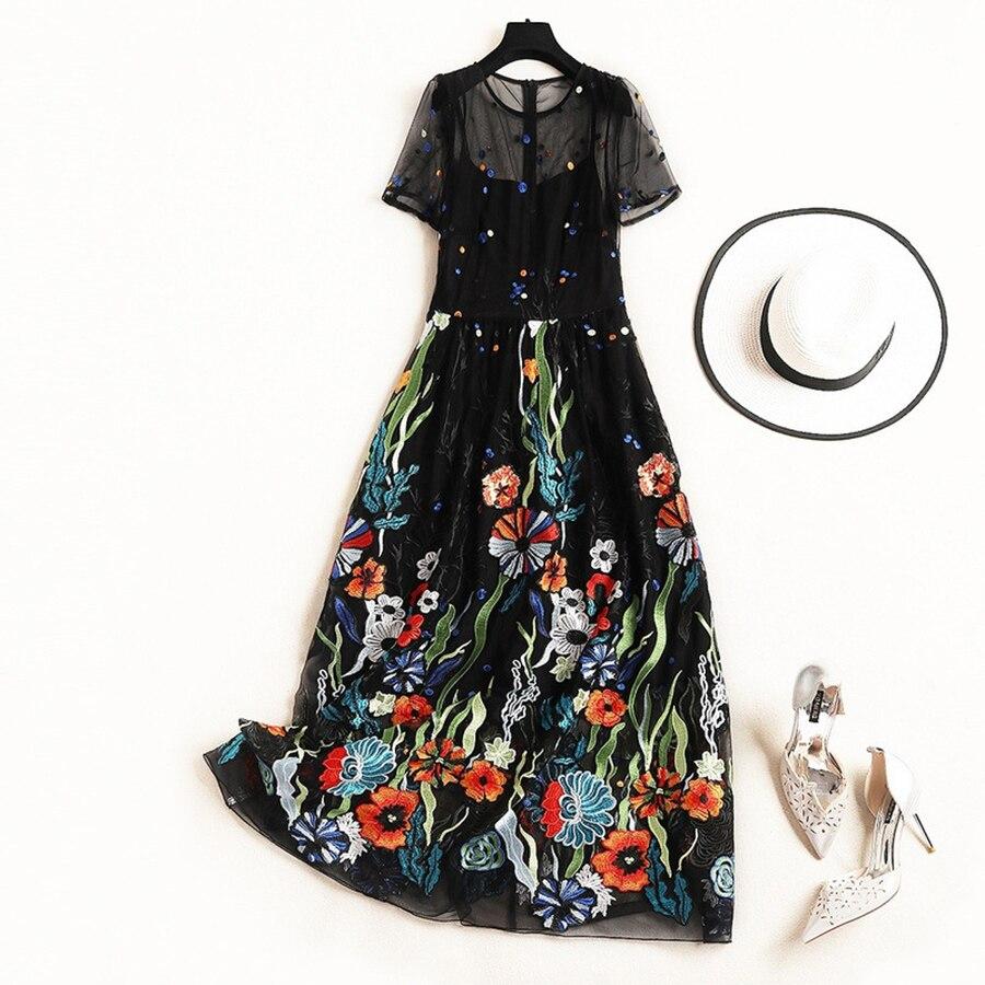VERDEJULIAY luksusowa projektanta letnia sukienka kobiety 2019 Runway nowy mody kwiat haft Patchwork długa elegancka sukienka Vestidos w Suknie od Odzież damska na  Grupa 2