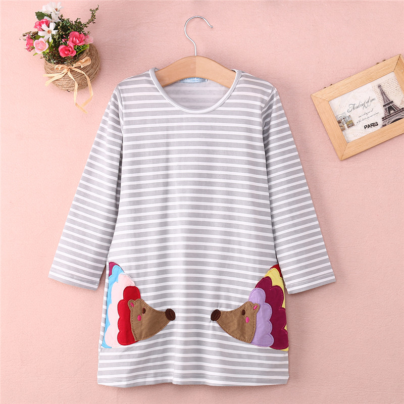 New Design Fashion Kids Baby Girls Long Sleeved Striped Long Shirt A-line Striped Cotton Mini Dress Crazy Price