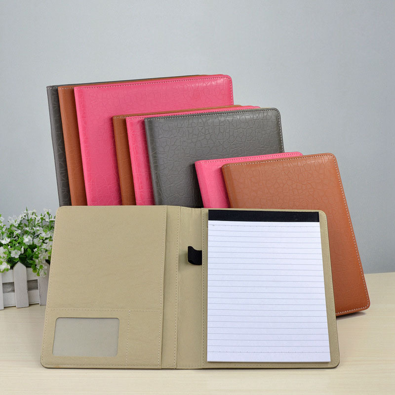 Professional Office File Folders Handmade Pu Leather A4 Folder Executive Writing Pad Document Organizer With Memopad Holder