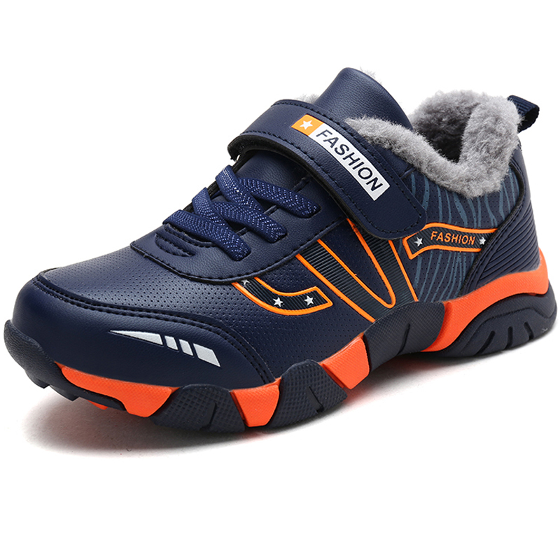 Winter Warm Leather Non-slip Kids Sneakers Rubber Boys Running Shoes Black Outdoor Children Walking Shoes Outdoor Run Sport Hot