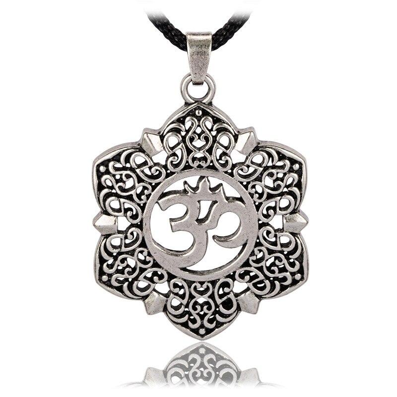 Open Filigree Lotus Flower Om Ohm Aum Symbol Pendant Necklace For Men