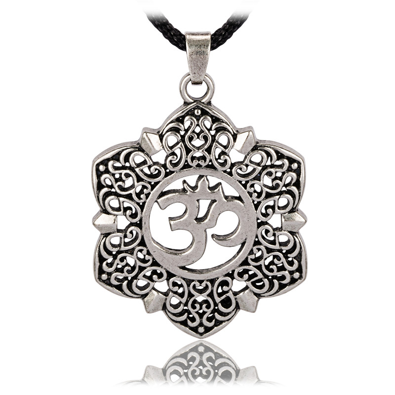 Open Filigree Lotus Flower Om Ohm Aum Symbol Pendant Necklace for Men ...