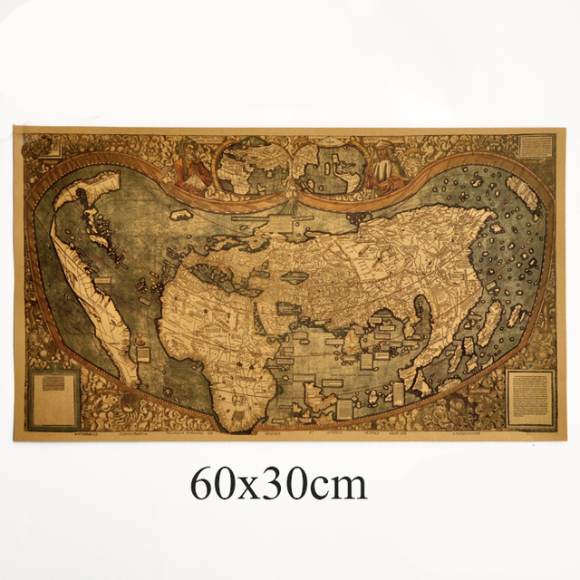 Ancient Vintage Map Retro Wall Art Crafts Sticker Painting HD Kraft Paper Maps Living Room Cafe