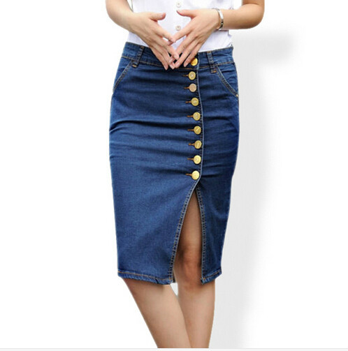 27cb32b606ba plus size 2018 new arrival denim skirts womens pencil jeans front button  skirt for women jupe patineuse S-6XL free shipping