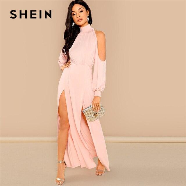 002c871f760d9 SHEIN Pink Party Elegant M-Slit Front Cold Shoulder Natural Waist Long  Sleeve Solid Maxi Dress 2018 Autumn Sexy Women Dresses