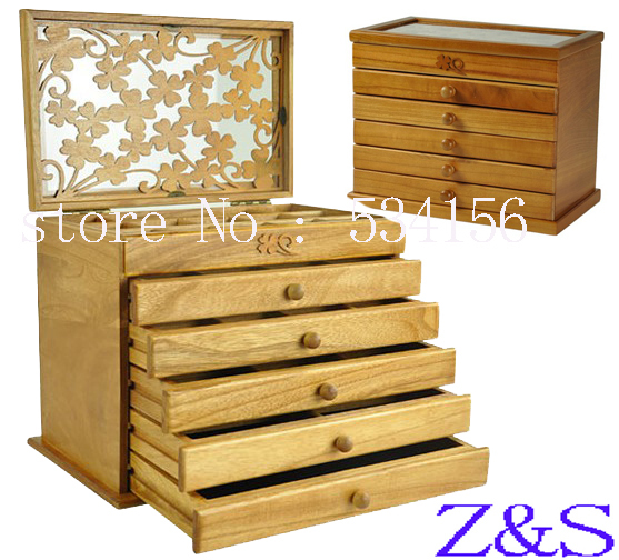 Clovers six large space Wood Jewelry Box Storage Gift Display Box