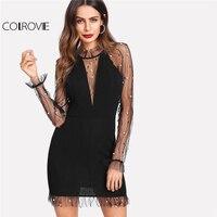 COLROVIE Black Pearl Beading Vine Mesh Panel Dress Women Ruffle Round Neck Long Sleeve Sexy Dress