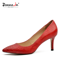 Donna In 2017 New Collections Thin And High Heel Pumps Red Color Python Skin Leather Ladies