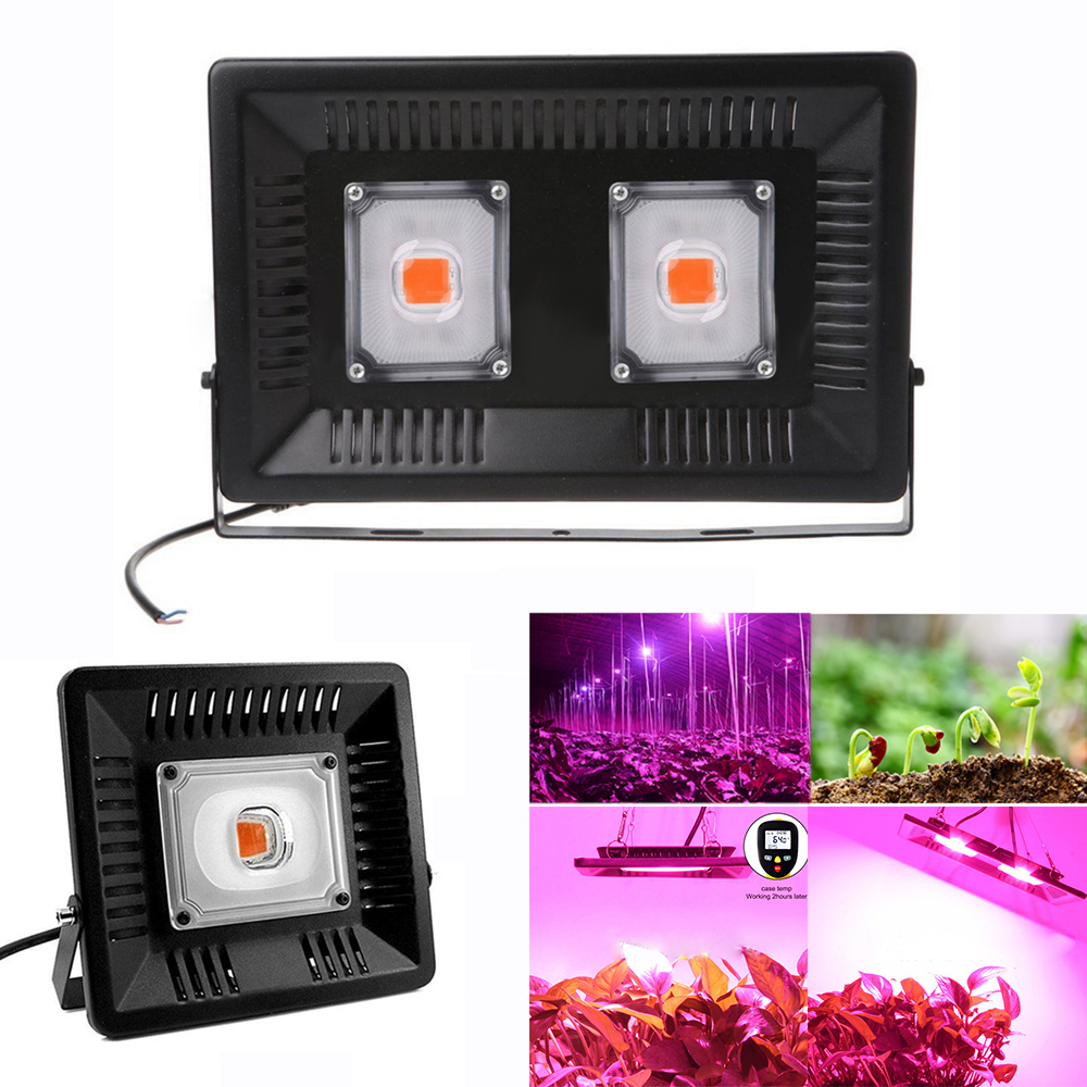 Full Spectrum LED Grow Light Waterproof IP65 50W 100W COB Growth Flood Light for Plant Indoor Hydroponic Greenhouse US EU UK in LED Grow Lights from Lights Lighting