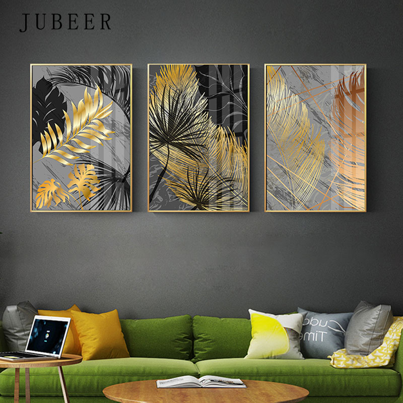 Scandinavian Style Poster Marble Golden Leaf Art Plant Abstract Painting Living Room Decoration Pictures Nordic Decoration Home interior design