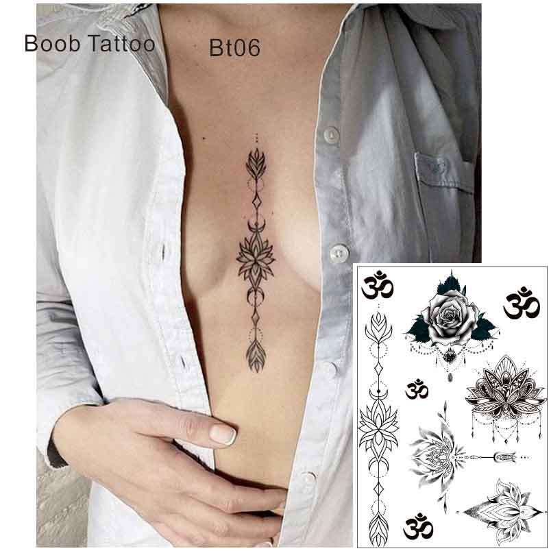 Bt06 1 шт. под грудью грудины временные татуировки с lotus, um, Йога узор Средства ухода за кожей Книги по искусству