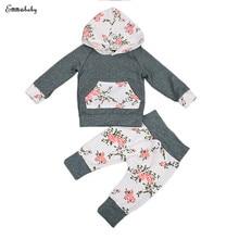 лучшая цена 2PCS Set Newborn Baby Boy Girl Clothes Infant Bebes Long Sleeve Hooded Sweatshirt Tops Floral Pant Trouser Kids Clothing Set
