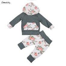 2PCS Set Newborn Baby Boy Girl Clothes Infant Bebes Long Sleeve Hooded Sweatshirt Tops Floral Pant Trouser Kids Clothing Set