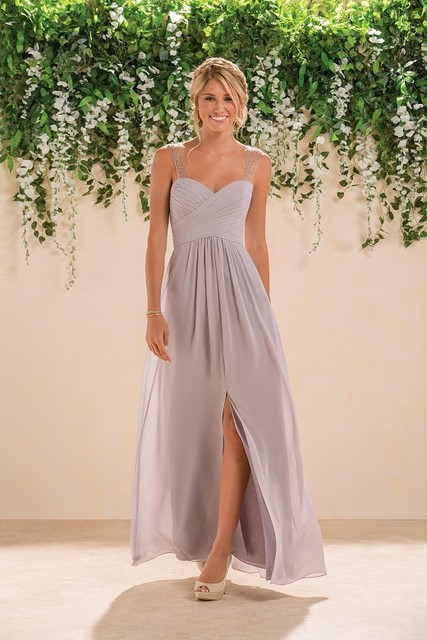 New Arrival Sexy Silver Chiffon Beading Sweetheart A Line With Split Custom Made Long Bridesmaid Dresses For Wedding Party 2017