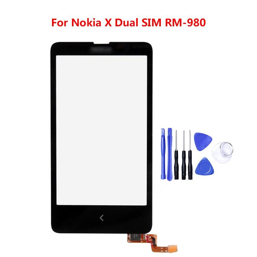 ה-SIM הכפול מסך מגע עבור נוקיה X 100% נבדקו RM-980 טלפון סלולרי עם מסך מגע הלוח קדמי זכוכית חיישן 4.0 ''תצוגה