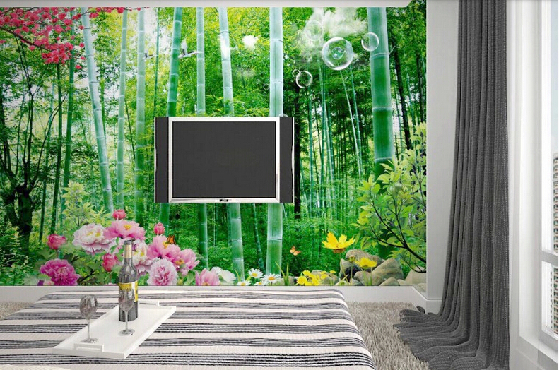 2016 new customize size 3d stereoscopic bamboo sofa living room tv backdrop wallpaper bedroom wallpaper adhesive wall covering in wallpapers from home