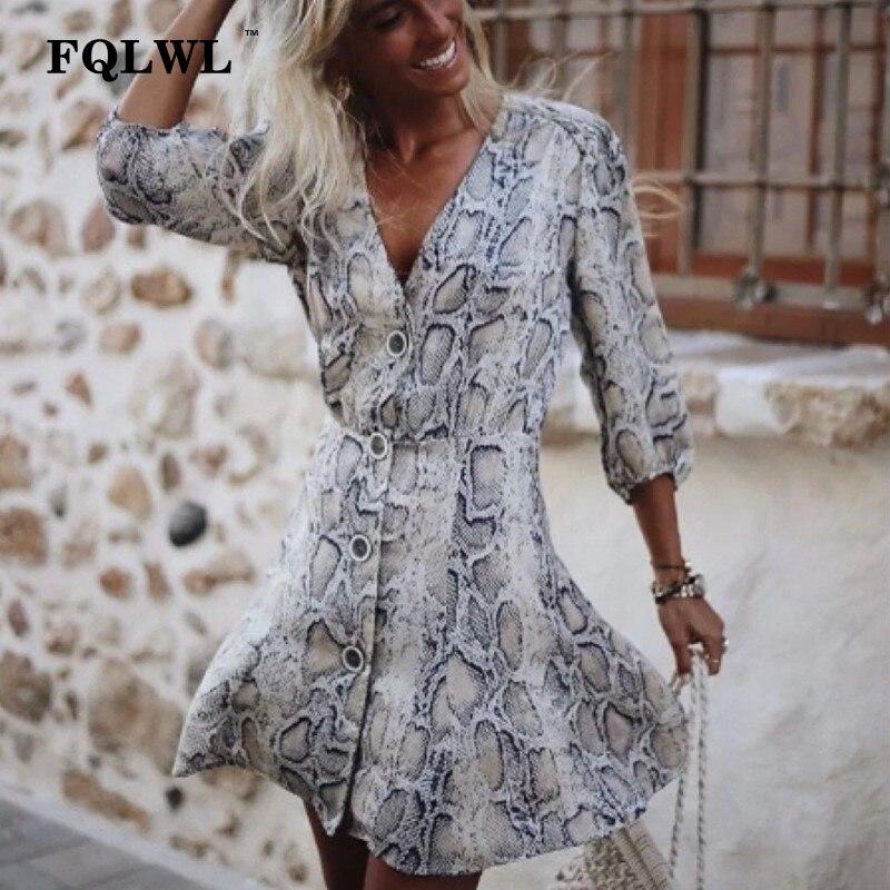 Women's Clothing Intellective Fqlwl Snake Skin Print Sexy Dress Women Buttons Long Sleeve A-line Mini Dress Autumn Casual Short Women Party Dresses Vestidos