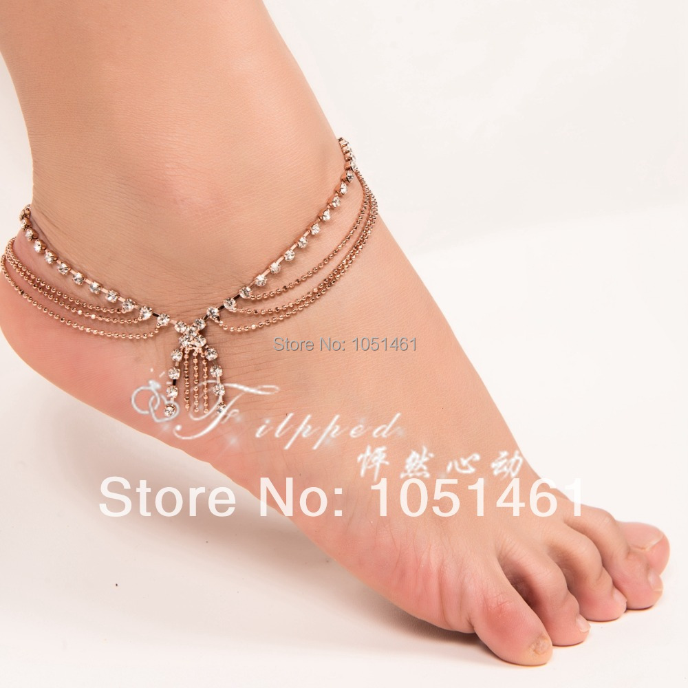 2 Waves Tel Anklet For Women Rose Gold Ankle Bracelet Legs Stars Indian Anklets Belly Dance Free Shipping Ak00040 In From Jewelry Accessories