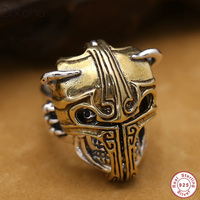 Real Solid 925 Sterling Silver skull ring for men Taro Men's Vintage Pure Gold Carved Vintage Punk Jewelry Men women accessories
