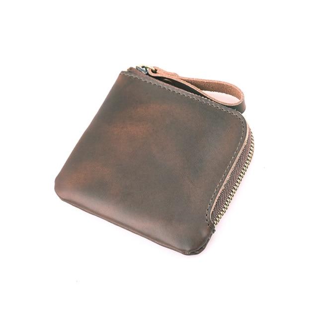 3ff8582e89f12 Zipper Männer Kleine Brieftasche Handgemachte Crazy Horse Leder Münzfach  Vintage Designer Mini Geldbörse Geld Fall Für