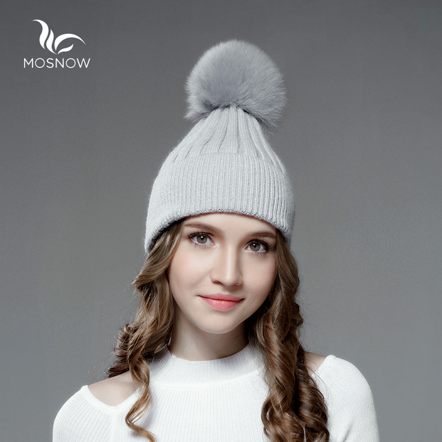Mosnow New Wool Hat Female Fox Fur Pom Poms Women Knitted Brand Casual High Quality Vogue Warm  Winter Hats Skullies Beanies