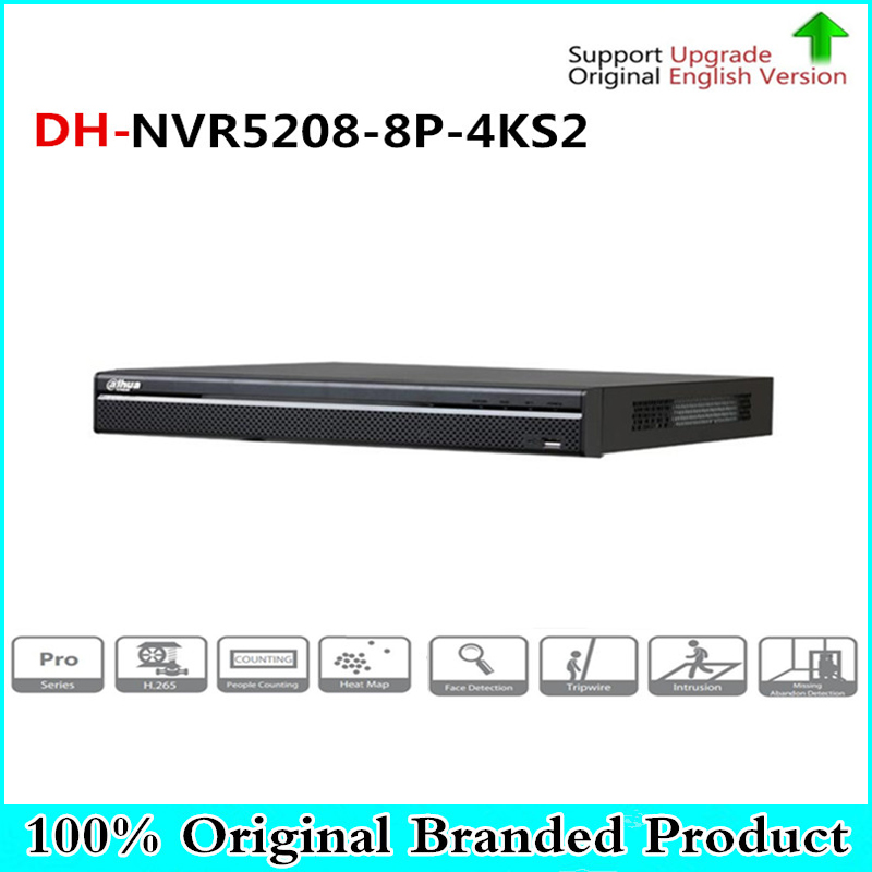 Multi-language 8CH POE NVR NVR5208-8P-4KS2 8CH 1U 4K&H.265 1080P NVR support 2 Sata port 8 poe port up to 12MP resolution english version nvr5208 4ks2 1u pro network video recorder 4k nvr 8ch without poe ports dh nvr5208 4ks2