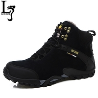 Men Shoes 2016 Winter Leather Boots Fur Inside Outdoor Breathable Men Snow Boots Fashion Brand Men