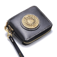 Short Black Cow Leather Delicate Pendant Wallets Purses Women Design Of metal Disk Vegetable Tanned Leather Wallet Card Holder