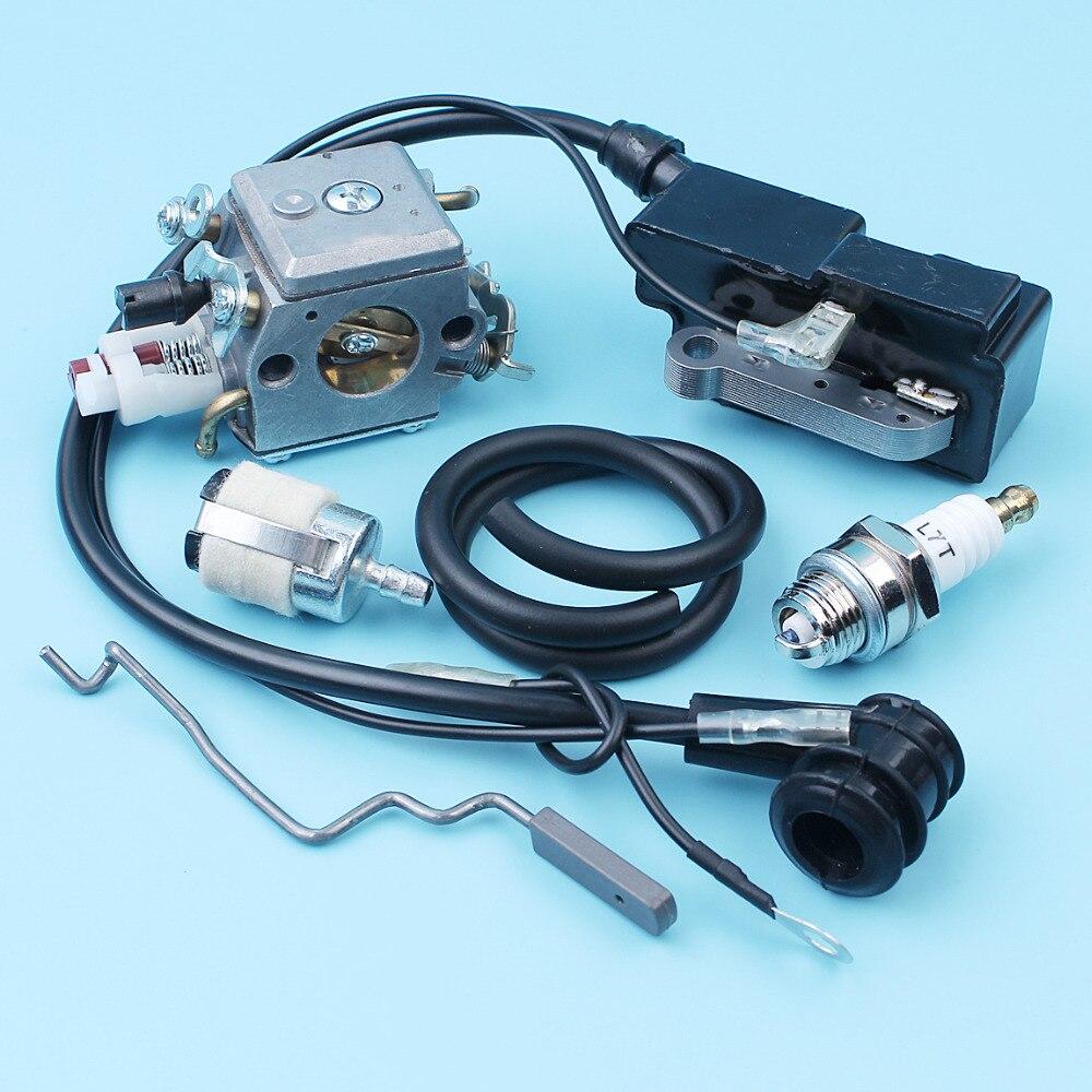 Carburateur bobine d'allumage ligne de carburant tuyau filtre tige d'accélérateur pour Husqvarna 340 345 346 XP 350 351 353 E/EPA #