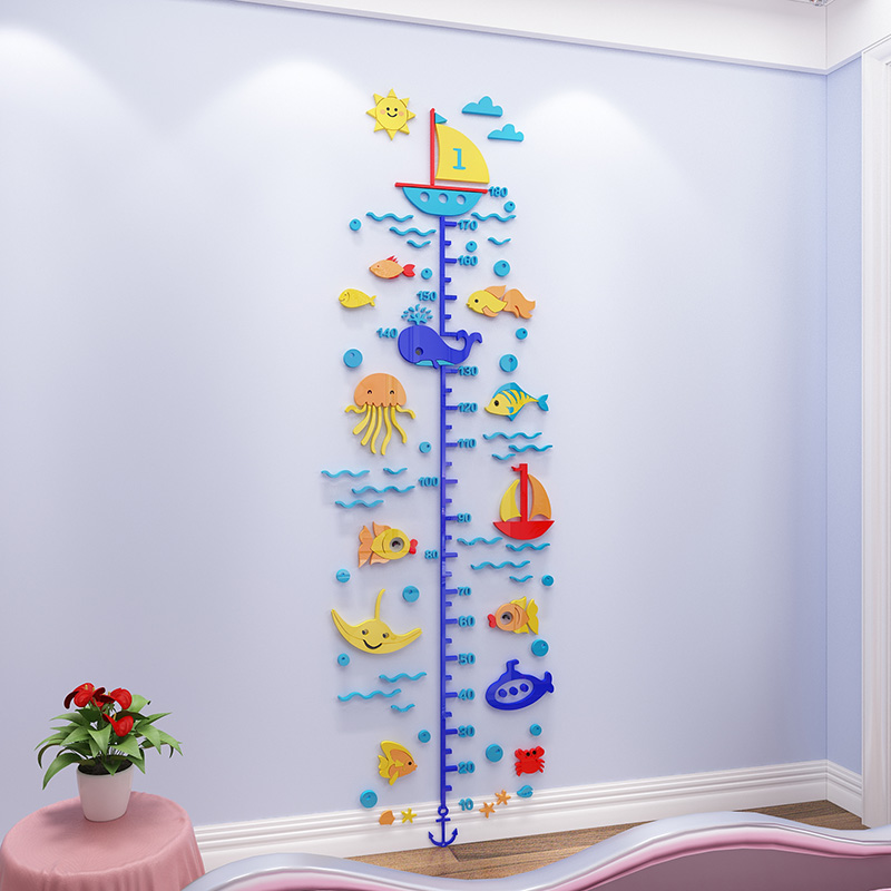 Креативные 3d наклейки на стену для детской комнаты с изображением героев мультфильмов для детского сада, спальни, измерительная линейка