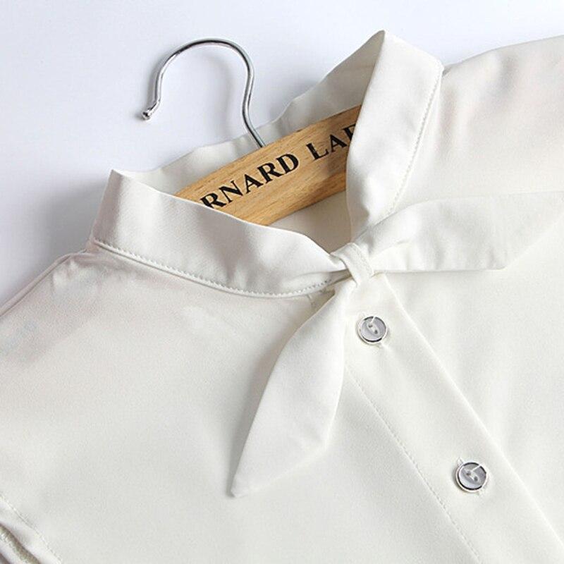 100% Wahr Frauen Reine Farbe Bogen Abnehmbare Revers Choker Halskette Shirt Gefälschte Falsche Kragen Feine Verarbeitung
