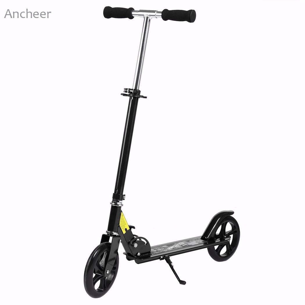 Ancheer Elifine Adult Foldable 3 Levels Adjustable Height 2-Wheel Kick Scooter ancheer new adult scooter adjustable height 2 wheel kick scooter foldable 3 levels foot scooters wakeboard