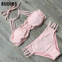 RUUHEE Bikini Swimwear Women Swimsuit Halter Bikini Set 2017 Sexy Multi Strap Bathing Suit Push Up