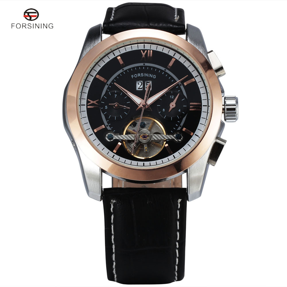 Forsining Men's Watch Automatic Tourbillon Business Leather Band Calendar Original Brand Wristwatch Militar Mechanical Watches forsining date display automatic mechanical watch men business leather band watches modern gift dress classic analog clock box