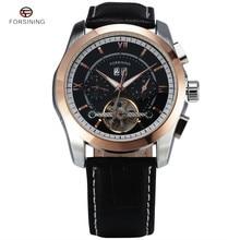 Forsining montre pour hommes automatique Tourbillon affaires en cuir bande calendrier Original marque montre-bracelet montres mécaniques militaires