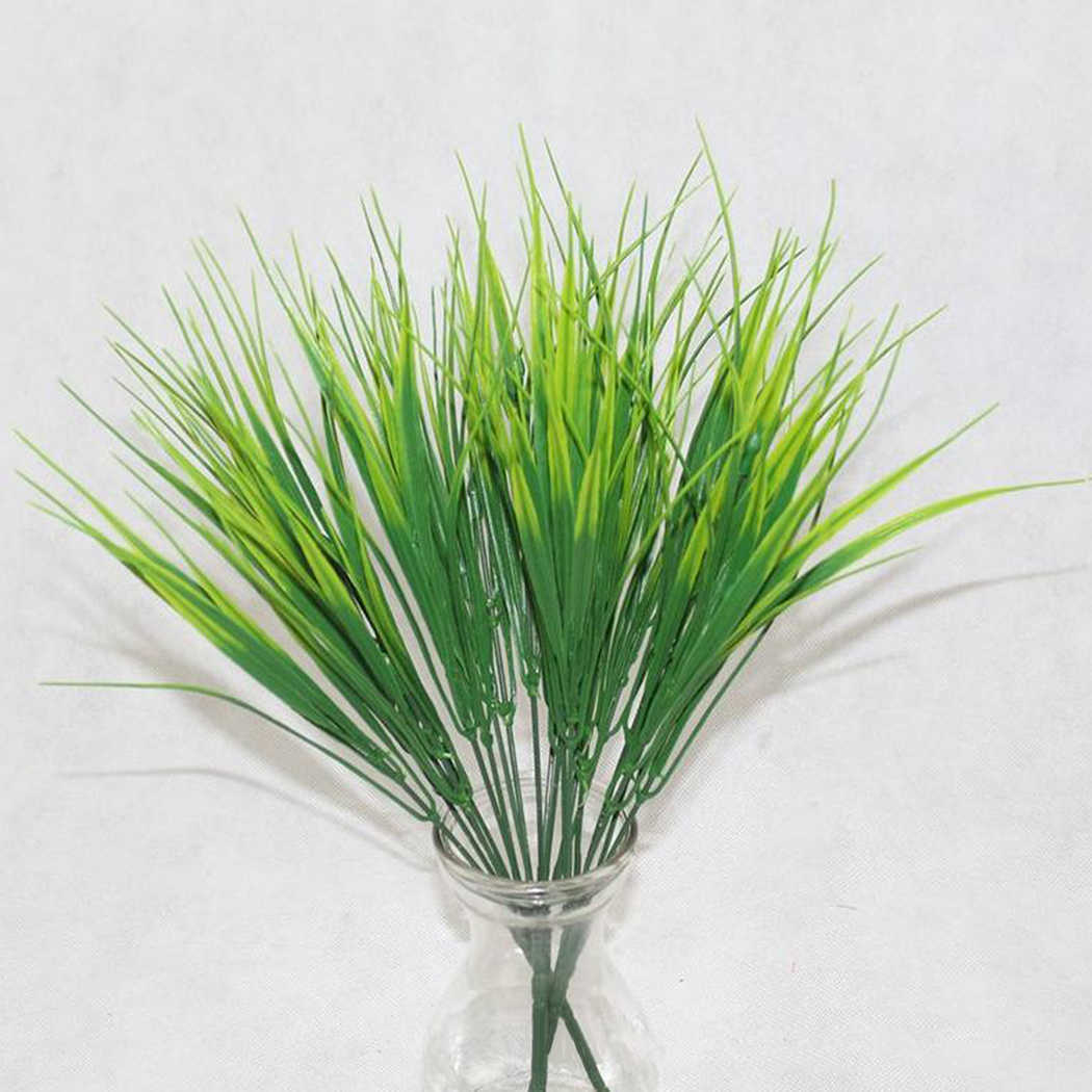 7 ส้อมหญ้าน้ำ Eucalyptus พลาสติกประดิษฐ์พืชสีเขียวหญ้าพลาสติกดอกไม้งานแต่งงานตกแต่งตาราง Decors
