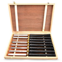 HSS Lathe Chisel Set 8 PC Set For Wood Turning Hardwood Handle High Speed Steel Brass Ferrules Wooden Case Woodworking Chisels