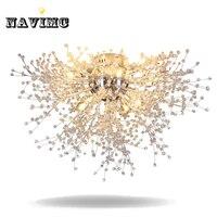Modern Dandelion LED Flush Mount Ceiling Light Clear Crystal Lamp For Kitchen Bedroom Living Room Foyer