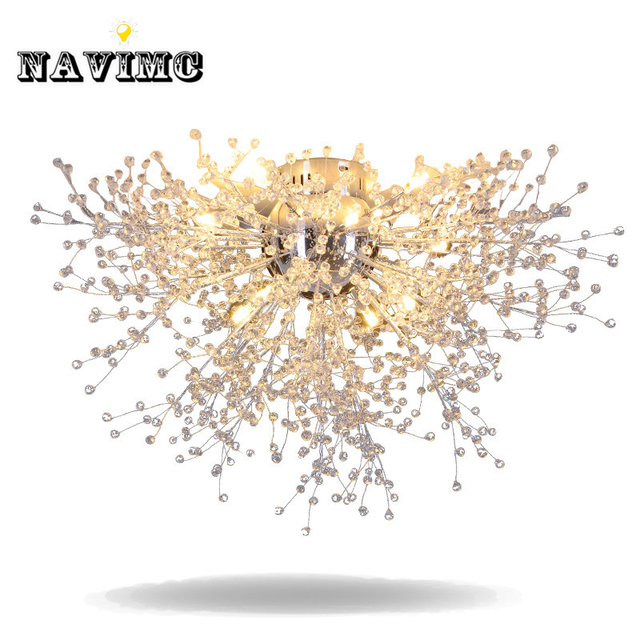 Modern Dandelion LED Flush Mount Ceiling Light Clear Crystal Lamp ...