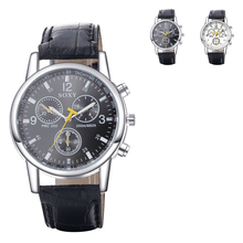 2016 new Style Men's PU Band Three Eyes Automatic Electric Wrist Watch Fashion Stainless Steel Metal Casual Round dial erkek kol