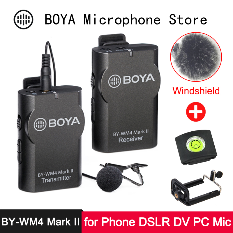 BOYA BY-WM4 Mark II Phone Wireless Microphone For IPhone Android DSLR SLR Camera DV Camcorder PC Professional Audio Lavalier Mic