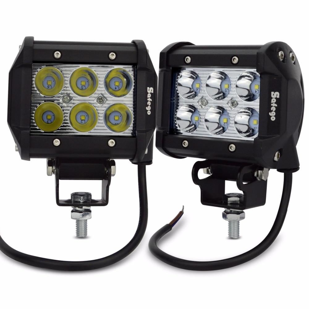 Safego 2pcs 18w Spot Beam led work light 12v 24v trucks car light bar for 4WD 4x4 Truck SUV ATV led work lights offroad fog lamp