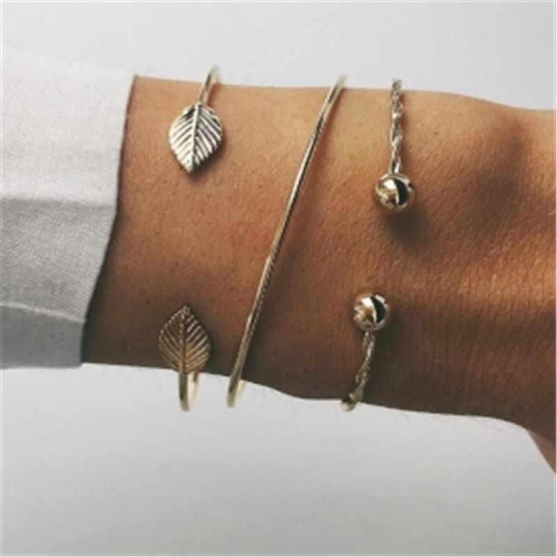 3 sztuk/zestaw Złoty Kolor Bransoletka moda proste osobowość liście Metal Bransoletka Łańcuch Komunikat otwartych bransoletki Biżuteria dla kobiet